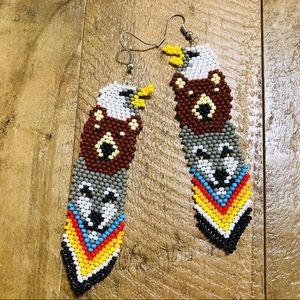 Totem Native American Style Beaded Earrings